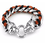 Hot Selling Jewerly Men's 316L Stainless Steel Silver Wolf Head Charm Bracelets