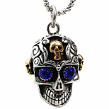Z011 Europe And The United States Foreign Trade, The Blue Eye Skull Titanium Steel Necklace Pendant (Excluding Chain)