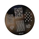 1pcs Nail Art Stamping Plate Small Round Shape Plate Geometric Image Manicure Tools  STZ31-35