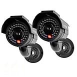 kingneo® 301s caméra de sécurité factice d'énergie solaire extérieure caméra de surveillance simulée avec flash LED 2pc noir