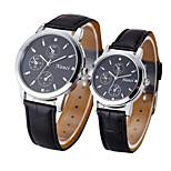 Couple's Fashion Leather Band Quartz Watch