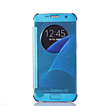 Samsung S7 Case Round Window Mirror Intelligent Dormancy Holster