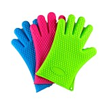 190G Thickened Heart-Shaped Silicone Bakeware Microwave Oven Gloves Heat Insulated Gloves Fingers 5Pcs