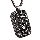 Steel Skeleton Man Tag Pendant Necklace Personality
