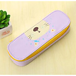 Cute Pu Leather Large Capacity Pencil Case Pencil Male And Female Students Minimalist Cartoon Stationery