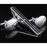 Set of 3 Silver Oval Cufflinks & Tie Stickpin Jewelry Gift Box Packaging(Random Stickpin)
