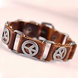 Peace Logo Classical Vintage Mens Leather Braclet Fashion Jewelry For Men Punk Rock