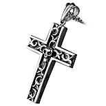 Retro Cross Pendant Necklace Titanium Skull