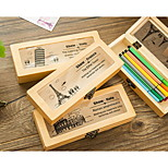C11-2-15 Korea Stationery Retro Wooden Buckle Pencil Multifunction Stationery Storage Box