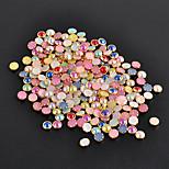 100Pcs DIY Rhinestone 3D Nail Art Decorations 4mm Metal Edge Glitters Half Round Pearls Beads Rhinestones For Nail