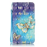 EFORCASE® Gold Butterfly 3D Painted Lanyard PU Phone Case for Huawei P9lite