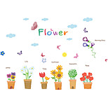 6 Potted Flowerpot Colorful Butterfly Wall Stickers DIY Living Room Bedroom Rose/Sunflower/Lily Wall Decals