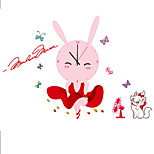 Cartoon Cute White Cat Pink Rabbit Girl Wall Clock With Wall Stickers For Children's Bedroom Home Decor DIY