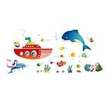Underwater World Toilet Bathroom Decoration Dolphin Swimming Pvc Translucent Glass Wall Stickers