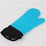Thick High Temperature Insulation Glove Oblique Large Opening Plus Cotton Waterproof Silicone Glove Fingers 5Pcs