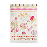 1pc Flash Metallic Waterproof Tattoo Gold Silver Dreamcatcher Elephant Pink Temporary Tattoo Sticker YH-013