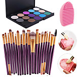 20pcs Makeup Brushes Set Eyeshadow Eyeliner Lip Brush Tool+15Colors Eyeshadow Palette+1PCS Brush Cleaning Tool