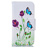Butterfly Flowers Pattern Card Phone Holster for iPhone 5/5S/SE/6/6S/6 Plus/6S Plus