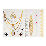 1PC Flash Metallic Waterproof Tattoo Gold Silver Swallow Necklace Lace Temporary Tattoo Sticker YH-005