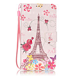 PU Leather Material 3D Painting Butterfly Tower Pattern Phone Case for Huawei P9 Lite