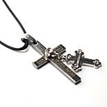 Jesus Steel Double Cross Necklace Pendant Personality