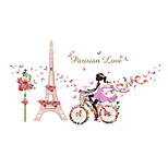 Wall Stickers Wall Decals Style Flower Fairy Bicycle Iron Tower Girl PVC Wall Stickers