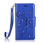 For BQ Aquaris M5  Luxury Retro Butterfly Diamonds embossed wallet Phone Cover With Stand Card Holder