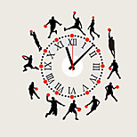 Sports Cartoon Play Basketball Wall Stickers With Wall Clock DIY Bedroom Living Room Home Decor