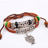 Brown Fabric Layered Leather Bracelet with Owl Pendant