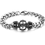 Men's Hight Quality Titanium Steel Silver Chain ID Bracelet with Skull