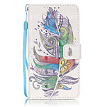 PU Leather Material 3D Painting Colorful Feathers Pattern Phone Case for LG K5/K7/LS775