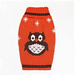 Cat / Dog Sweater Red / Blue Winter / Spring/Fall Cartoon / Animal Halloween, Dog Clothes / Dog Clothing