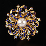 Korean Pearl Purple White Flower Rhinestone Brooch Sweater For Women Wedding Jewelry
