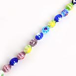 Beadia 38Cm/Str 6x8mm Oval Millefiori Flower Lampwork Glass Beads(1.0mm Hole)