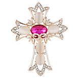 Fashion Women Elegant Opal Gold Plated Cross Shape Skull Bouquet Brooches for Women