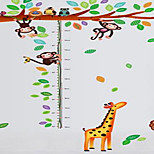 School Classroom Decorated Glass Monkey Giraffe Height Stickers Children'S Room Wall Stickers