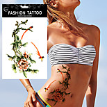 5pcs Waterproof  Temporary Flower Birds  Peony Tree Colored Drawing Women Back Arm Body Art Tattoo Sticker