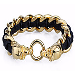 Hip Hop Style Stainless Steel Jewelry 18k Gold Skull Charm And Leather Bracelets for Men