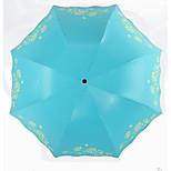 33292E Pretty Flowers Paradise Umbrella Three Folding Folding Exhibition Mushroom Princess Sunny Umbrella Vinyl