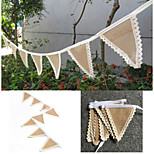 Brown Triangles Lace Burlap Jute  8 Flag Banner Linen Bunting Garland Wedding Party Decorate