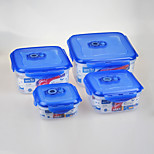 4 pcs Set Square Vacuum Food Storage Containers with Click Locks