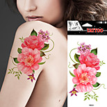 5 Pieces Of Waterproof Tattoo With Large Pattern Color Flower Tattoo Stickers