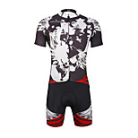 Breathable Paladin Summer Male Short Sleeve Cycling Jerseys Suit 100% Polyester DT655 Cark Grey Skeletons