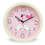(Kleur random) 8 inch kinderslaapkamer leuke cartoon wandklok mute ronde klok quartz uurwerk