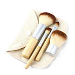 4 Makeup Brushes Set Synthetic Hair Portable Wood Face Others