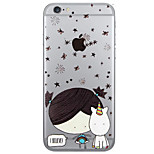 Girl Pattern  Transparent TPU Material Phone Case for iPhone 6 6S  6 Plus 6S Plus