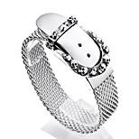 2016 New 1PC 316L Stainless Steel High Polishing Belt Buckle Clasp Skull Mesh Bracelet For Men