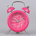 (Random color)2 inches metal mini alarm clock fashion cute students children bedroom bedside alarm clock