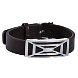 Fashion Men's Brown Net Shape Pattern 316L Stainless Steel Leather Bracelets