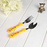 Selling Korean Cartoon Baby Stainless Steel Spoon Fork Piece Children'S Tableware